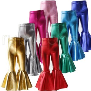 Toddler Kids Solid Bright Colors Leggings Baby Girl Leather Pants Fashion Ruffle Bell Bottoms Kids Birthday Suits Cotton Trousers RRA3537