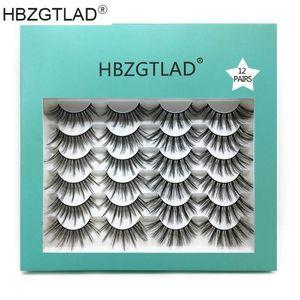 NEW12 Pairs 3D Eyelashes Thick Soft EyeLash Extensions 100% Hand Made False Lashes Full Strip Eyelashes Various Eye Makeup Tool
