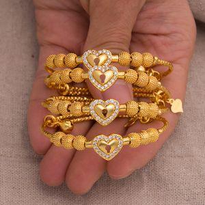 4Pcs / lot Baby-Armband-Goldfarben-Armband-Jungen-Mädchen-Chind Zircon Kinder-Armband-Armband Festival Geburtstags-Geschenk