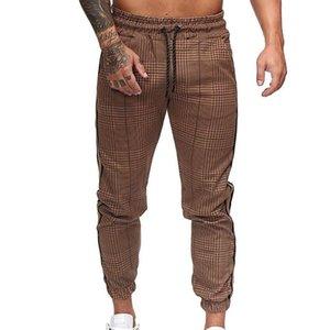Мужские брюки Повседневная мода Стиль Мужчины Повседневная Карман нашивки плед Печать Drawstring Длинные брюки пят Связали Брюки