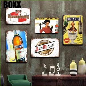 Ricard Beer Metal Tin Вход Vintage Havana Club Poster Металлические Знаки Античная Ирландский Паб Бар Кафе Кухня Art Wall Home Decor