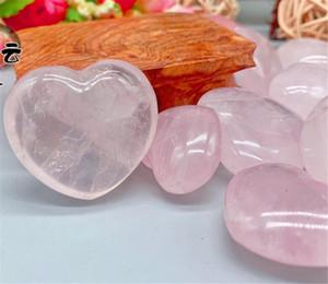 En forme de coeur en pierre pierres Cristaux Quartz Rose Naturel Amour Puffy Amour guérison Cristal Précieuses Décoration Bricolage
