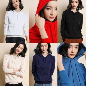 0m2HU kazak 20 ve Autumn yeni kadın örme kazak ceket kapüşonlu ceket Bahar gevşek kazak