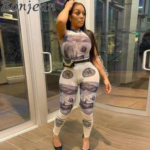 BONJEAN Женщины сетка Характер печать Два Piece Set 2020 Streetwear O-образный вырез без рукавов Bodysuits леггинсы Matching Наборы
