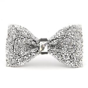 Mens boda blanca brillante del Rhinestone de la pajarita del diamante de la manera mejor hombre pajaritas Real Fotos esmoquin novio en el envío libre