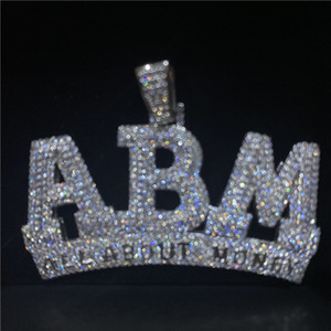 Hip Hop Iced Out Diamond Letter ABM Pendant Gold Silver Plated Micro Paved Cubic Zircon Mens Hip Hop Jewelry Gift