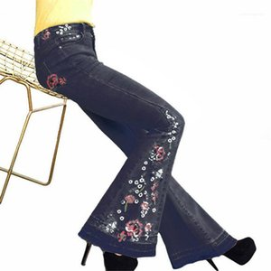 Designer gebleichtes Denim-Hosen weibliche sexy Vintage-Jeans-Frauen-beiläufige Kleidung Frauen Stickerei-Flare-Jeans