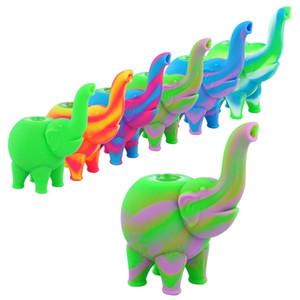motif éléphant mini-barboteur fumant la pipe d'eau multiples couleurs huile de silicone Rigs de narguilés verre gratuit collecteur de nectar Bowl
