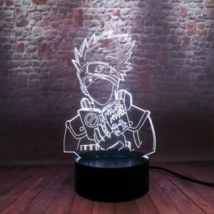 Flash Naruto Hatake Kakashi Anime Figure 3D Illusion LED Colorful Flashing Desk Nightlight Japan Manga Kakashi Figuras Toys MX200811