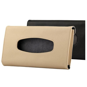 Tissue Box Car Sun Visor PU Leather Tissue Box Auto Clip Holder Paper Napkin Accessories