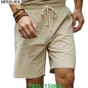MFERLIER summer men Shorts Chinese style linen cotton vintage plus size 7XL 8XL 9XL 10XL casual short loose Stretch elasticity MX200815