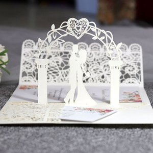 10 Pcs 3D European Style Wedding Invitation Card with Envelope Kits Party Supply