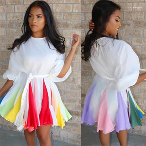 Casual Designer Vestido Moda Feminina Roupa Dropshipping Womens Vestidos manga comprida Multi Color Painéis Rainbow Color Gradient