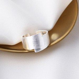 gioielli S925 anelli in argento sterling silver satinato geometria grande smalto anelli per le donne di modo caldo