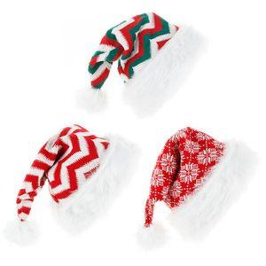 Noel Çizgili Şapka Örme Yün İplik peluş Büyük Balo Çizgili Noel Şapka Yeşil Kırmızı Noel Baba Şapka Çocuk Hediyeler DHE1080