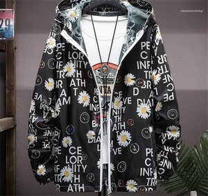 Slim Mens Clothes Mens Floral and Letter Print Jackets Spring Zipper Pocket Hooded Outerwear Long Sleeve Street Style