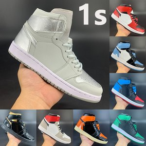 Moda 1s Jumpman uomo donna scarpe da basket 1 high Court Viola Bianco UNC Patent incredibile Hulk NC to Chi sneaker sportive in pelle firmate