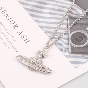 collana Fashion Queen Mother Vivienne Vivienne nuova edizione completa diamante logo grande Saturno collana Platinum elettrolitico ipoallergenico