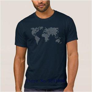 Anlarach Kostüm Aktuelle Welt Welt Code in binären T-Shirt Männer Frühlings-Herbst-Future World Map T-Shirt für Männer S-3XL T-Shirt groß