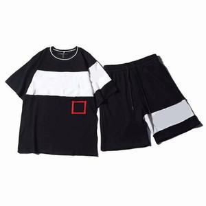 Mens Summer Brand Спортивный костюм Повседневная футболка и шорты Костюм Письма Вышивка с принтом Свободная футболка Jogger Спортивный костюм Топ Размер бренда S-2XL