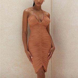 Abito a rete estate Donne Low Cut con scollo a V increspati aderente vestito sexy donna del partito Nigh club indossare abiti 2020 Estate Vestidos