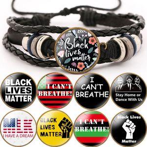 2020 Hot Vente Bracelet Punk pour les hommes Lives Noir Matière JE RESPIRER Bracelet réglable Trendy Multilayer Bijoux Bracelet en cuir cadeau
