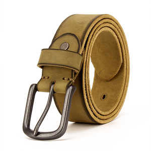 Genuine Leather Men Leather Belt Belt Vintage Pin Buckle Top Layer Pure Leather Pant Belt Handmade Do the Old Cowboy Korean-Style All-match