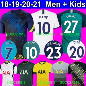 2018 2019 Lucas Bale Bergwijn Spures Son Harry Kane Home White Soccer Jerseys Dele Third Green 2020 2021 Sessegnon Football Shirts Kids Kits