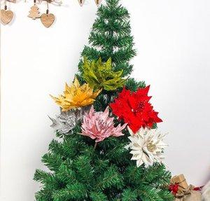 Künstliche Blumen-Kopf Poinsettia-Silk Blumen-Fälschungs-DIY Weihnachtsbaum-Dekoration Startseite Hochzeit Weihnachten Decor
