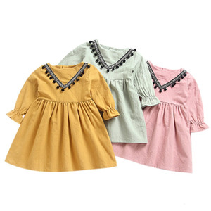 Excelent Clearance New summer babys Dress Toddler Kids Baby Girls Ruched Tassels Princess Dresses Clothes Z0207