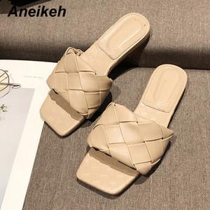 Aneikeh las mujeres del verano deslizadores de los zapatos de goma Diapositivas PU sólido Fuera superficial plana con adultos Negro Azul Rojo Blanco albaricoque 35 ~ 39