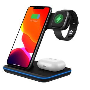 3in1 10 W Hızlı Kablosuz Şarj Dock Hızlı Şarj Standı Iphone 11 x XR XS Max İzle Airpods