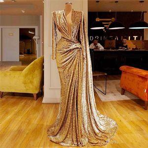 2021 Bling Sequined Gold Mermaid Evening Dress Full Sleeves Prom Dresses Deep V Neck Pleats robe de soiree Dubai African Party Wear
