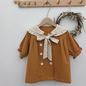Kids Dresses For Girls Spring Autumn New Doll Large Lapel Double-Breasted Princess Dress Baby Girls Dress