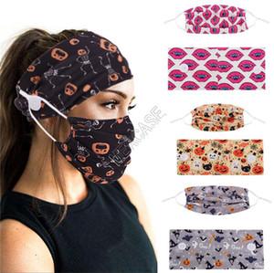 Halloween-Muster-Gesichtsmaske und Stirnband Hairwrap Zweiteiler Art und Weise Facemasks wiederverwendbarer Masken-Halter-Knopf Kopfbedeckung für Frauen Männer D82704