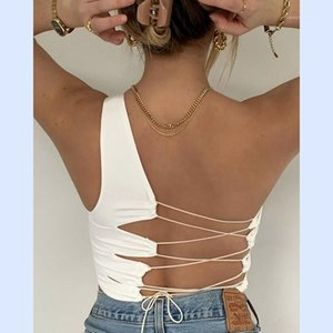 Hollow Out Backless Solid Slim Crop Tops Women Club Party Clothing Sexy One Shouder Women Tanks Fashion
