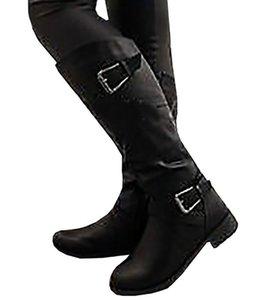 VOGELLIA Зимние ботинки женщин высокие сапоги Рим ретро кожа Пряжка Круглый Toe мотоциклов Boots женщина Повседневная обувь Botas Mujer