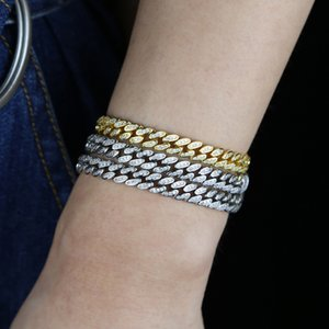 wholesale Hop Bling Iced Out 6.5mm width bling cubic zirconia Miami Cuban Link Chain 5a cz Bracelet for women Jewelry