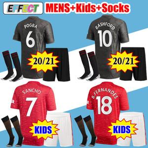 Manchester United Soccer Jersey Kids + Socks 2020 2021 united POGBA SANCHO BRUNO FERNANDES RASHFORD Camisas de futebol 20 21 Kit completo Juventude Infantil Camisas