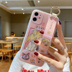 Япония аниме мультфильм Sailor Moon Luna Cat мягкий телефон случае для Iphone 11 Pro Max X XS XR 7 8 плюс 2020 SE Wrist кронштейн крышки