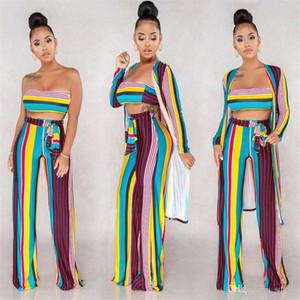 Dikey Çizgili Dış Mekan eşofman Uzun Ceket Navel Exposed Tops Gevşek Pantolon 3 Piece Bir Suit Kıyafetler Yaz Popüler Kadın Ev Giyim