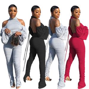 Nightclub Wear Mulheres de duas peças sólida Define de Lady Sexy O pescoço Lace-Up Sem Costas drapeado Sleeve Tops cintura alta empilhados Calças Sets