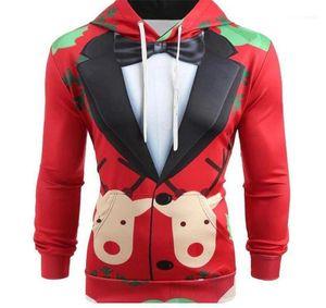 Muster-Druck-Hut Kragen Tuch Homme dünne beiläufige Tops Designer Mens lustige Art Hoodies Weihnachts Anzug