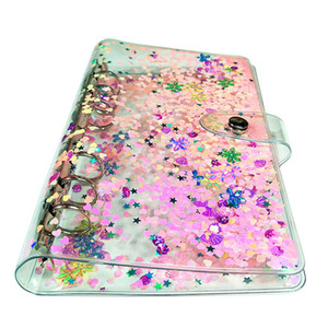A6 Notepads Renkli Kapak Öğrenme El Defteri Şeffaf Gevşek-Yaprak Kabuk Basit İş Not Defteri Quicksand Binder Shell A02