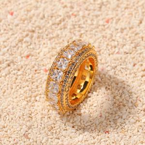 Nova moda Diamond Ring Homens Hip Hop Jóias Bling de pedra do ouro chapeado Hiphop anéis de ouro