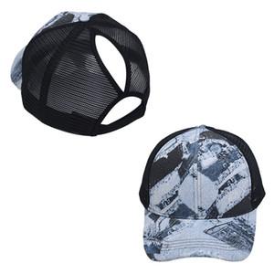 Ponytail Messy Baseball Cap Women Adjustable Mesh Snapback Tie Dye Hat Summer Sun Protection Cap GWF1486