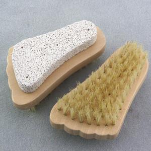 La piel del pie del cepillo exfoliante Muerto cepillo removedor de madera con cerdas naturales y Piedra Pómez Pies Cepillo ducha Spa masajeador FWD1116