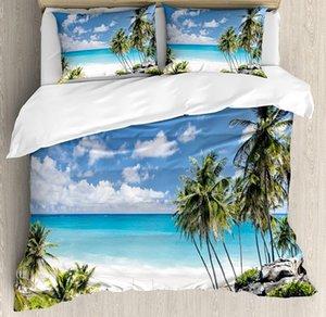 Yaz Nevresim Seti Alt Bay Barbados Beach Tropical Palms Ocean Holiday Paradise Sahil Charm Resmi Yatak Seti