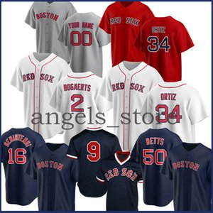 2020 Red Custom Sox Mookie Betts Beyzbol Jersey Ted Williams Andrew Benintendi David Ortiz JD Martinez Wade Boggs Chris Satış Pedroia Morela