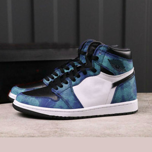 2020 zapatos para hombre verde de Nueva alta OG 1 WMNS Tie Dye 1S Aurora Blanco Negro para mujer de baloncesto zapatillas de deporte al aire libre Formadores
